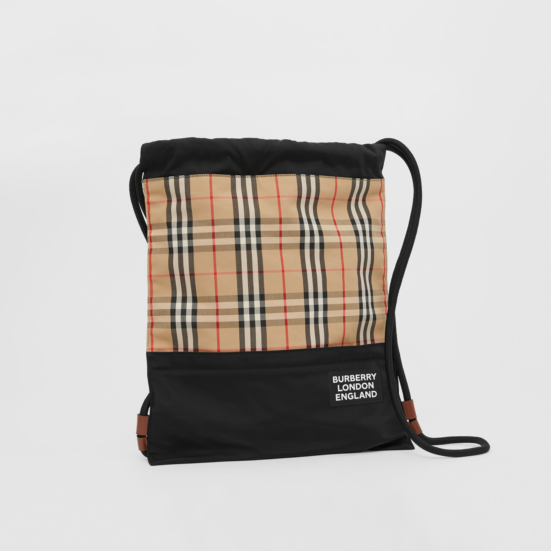 Vintage Check Panel Drawcord Backpack in Archive Beige | Burberry - gallery image 7