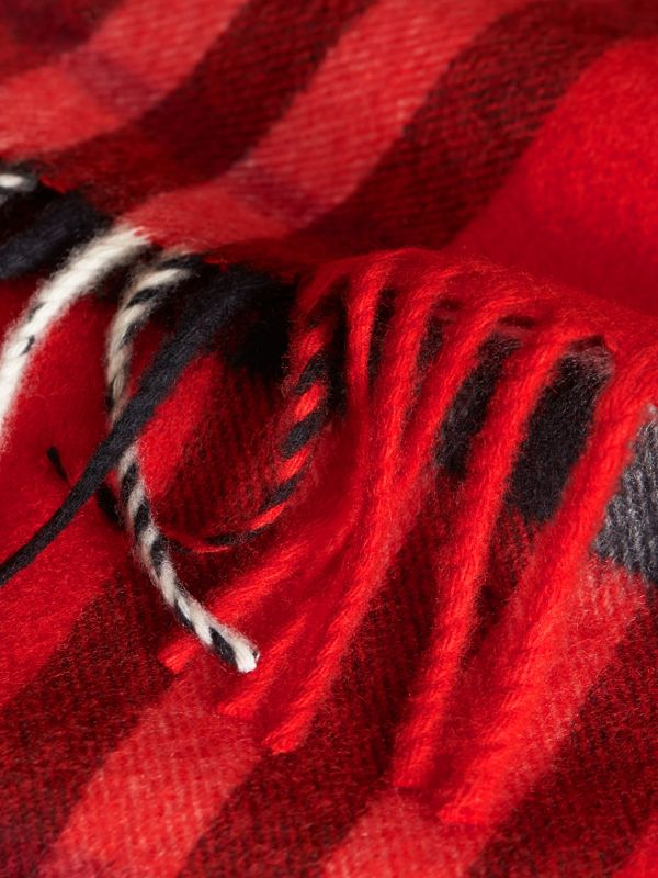 The Mini Classic Check Cashmere Scarf in Bright Orange Red | Burberry United States - cell image 2