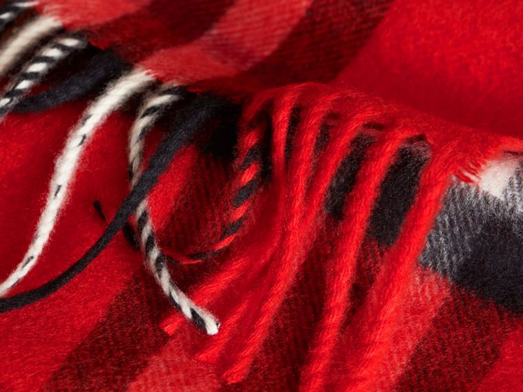 The Mini Classic Cashmere Scarf in Check in Bright Orange Red | Burberry - cell image 2