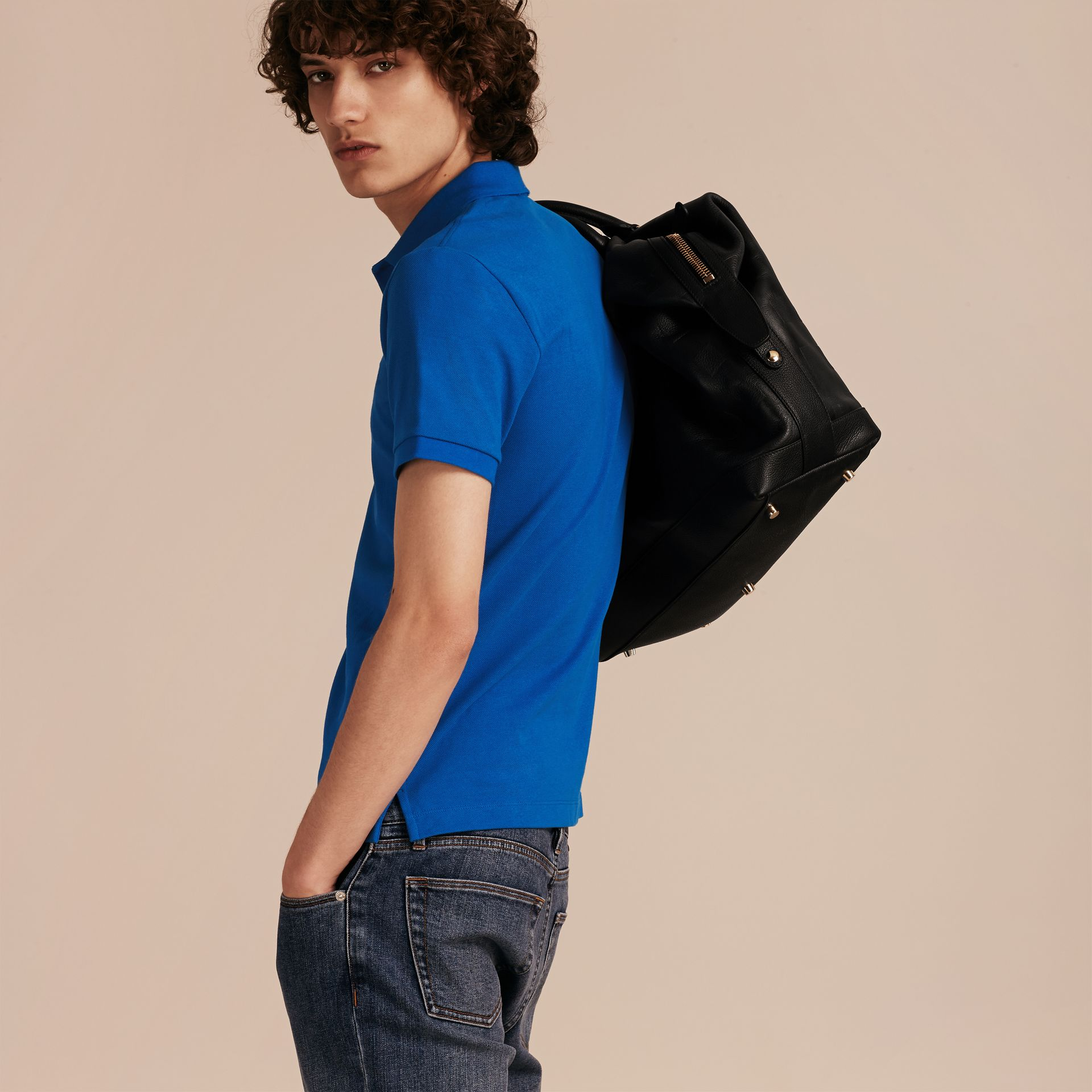 Check Placket Cotton Piqué Polo Shirt in Bright Opal - Men | Burberry - gallery image 3