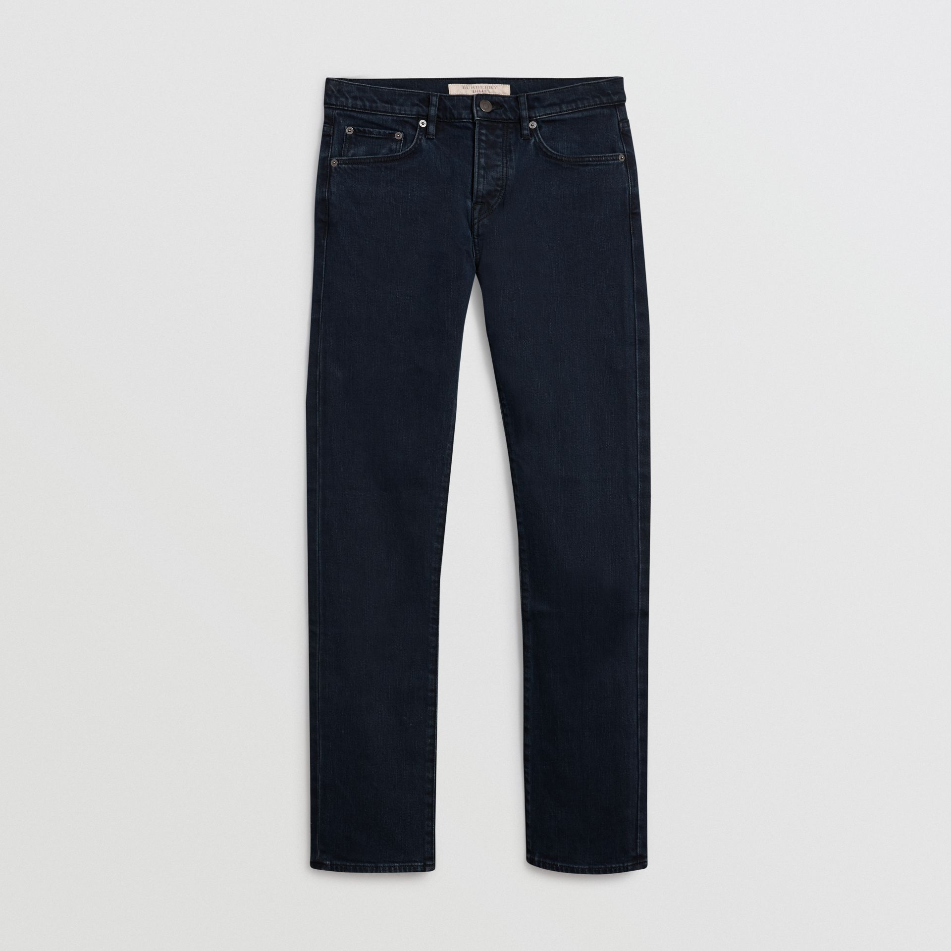 Straight Fit Stretch Denim Jeans in Dark Indigo - Men | Burberry United States - gallery image 3