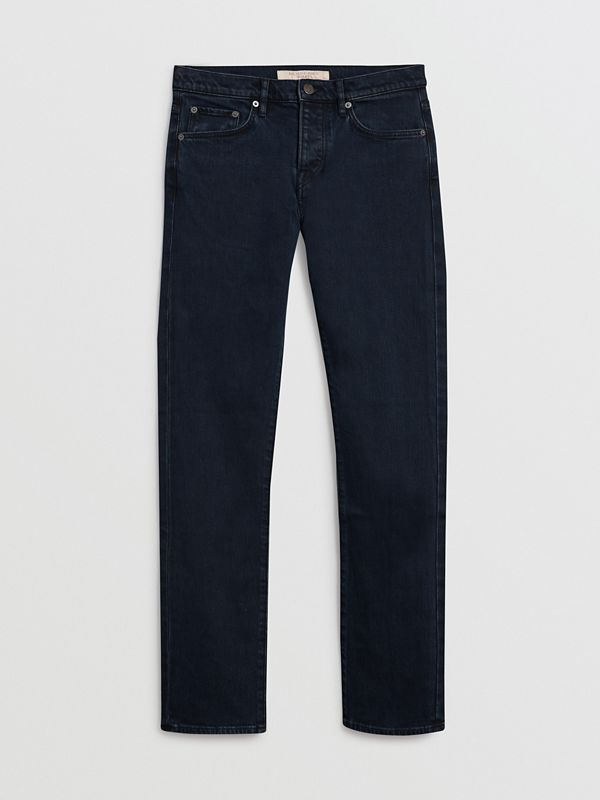 Straight Fit Stretch Denim Jeans in Dark Indigo - Men | Burberry - cell image 3