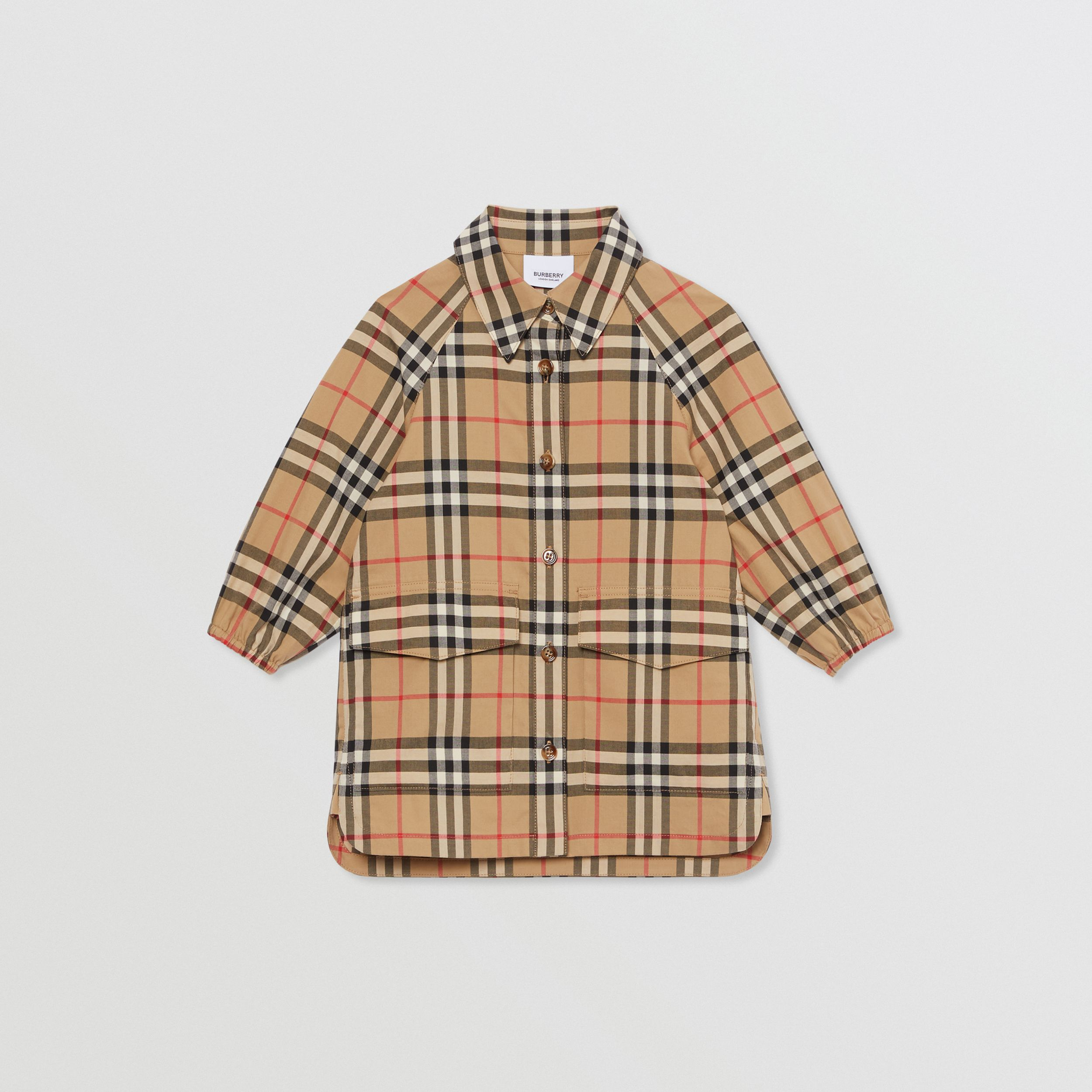 Vintage Check Cotton Shirt Dress in Archive Beige - Children | Burberry - 1