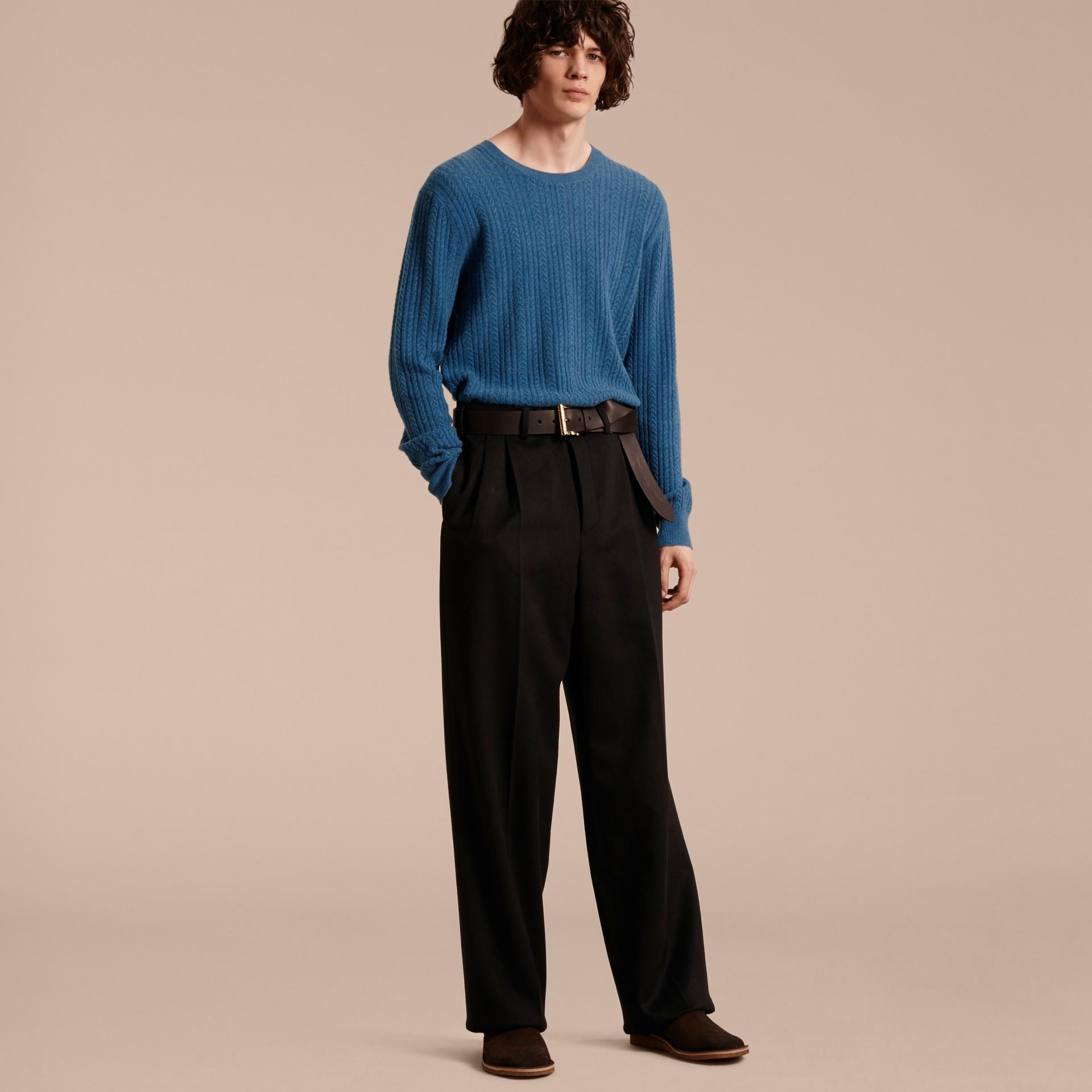 Hydrangea blue Aran Knit Cashmere Sweater Hydrangea Blue - gallery image 7