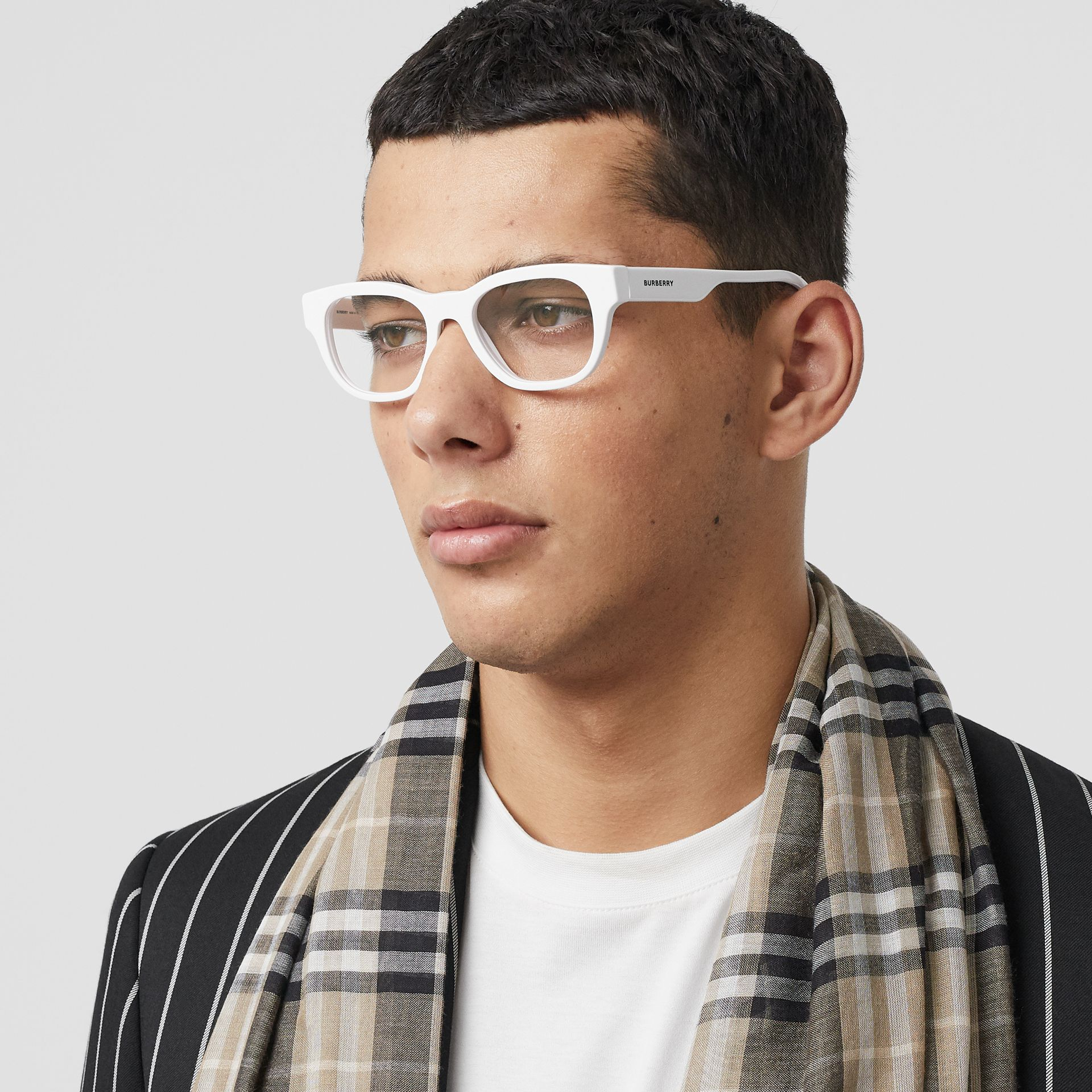 Square Optical Frames in White - Men | Burberry - gallery image 2