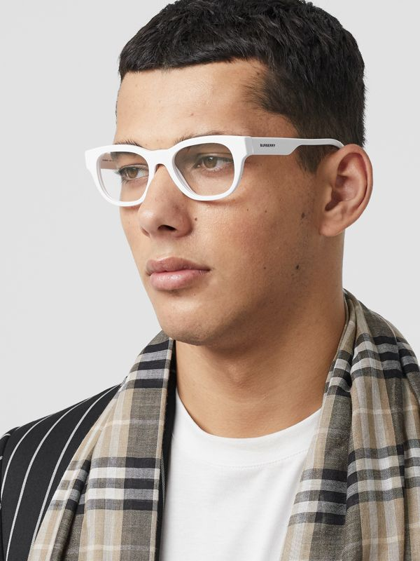 Square Optical Frames in White - Men | Burberry - cell image 2