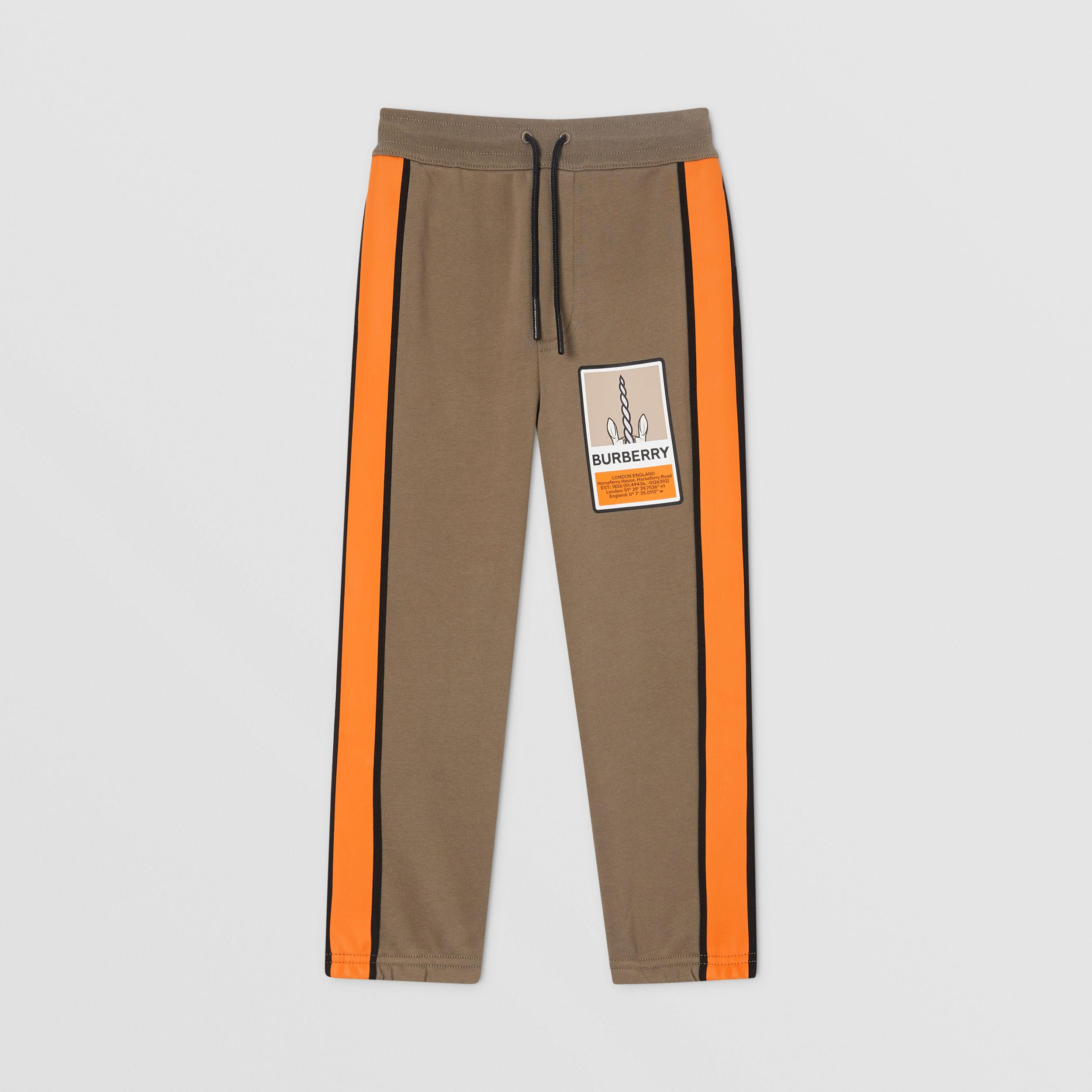 Logo Graphic Print Cotton Jogging Pants in Smoke | Burberry Hong Kong S.A.R. - 1