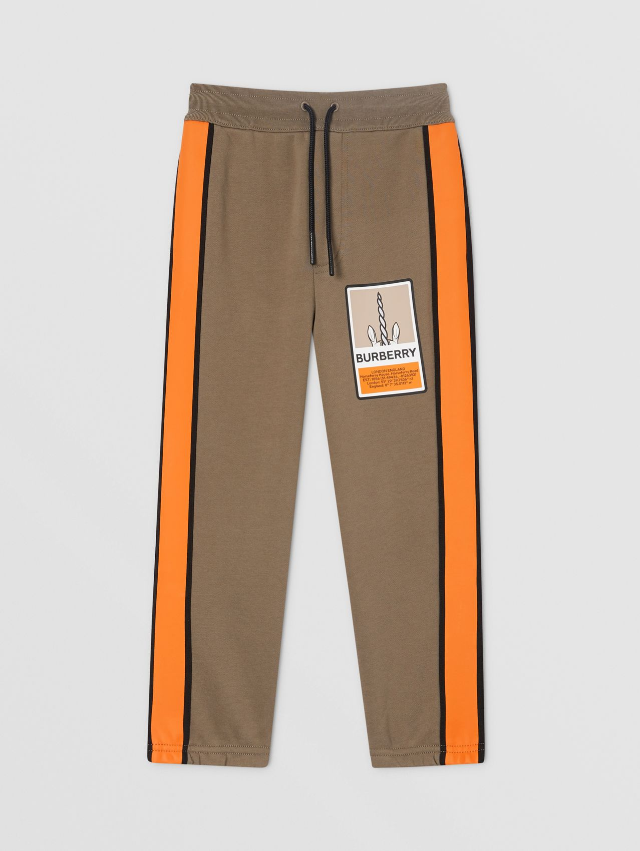 Logo Graphic Print Cotton Jogging Pants in Smoke