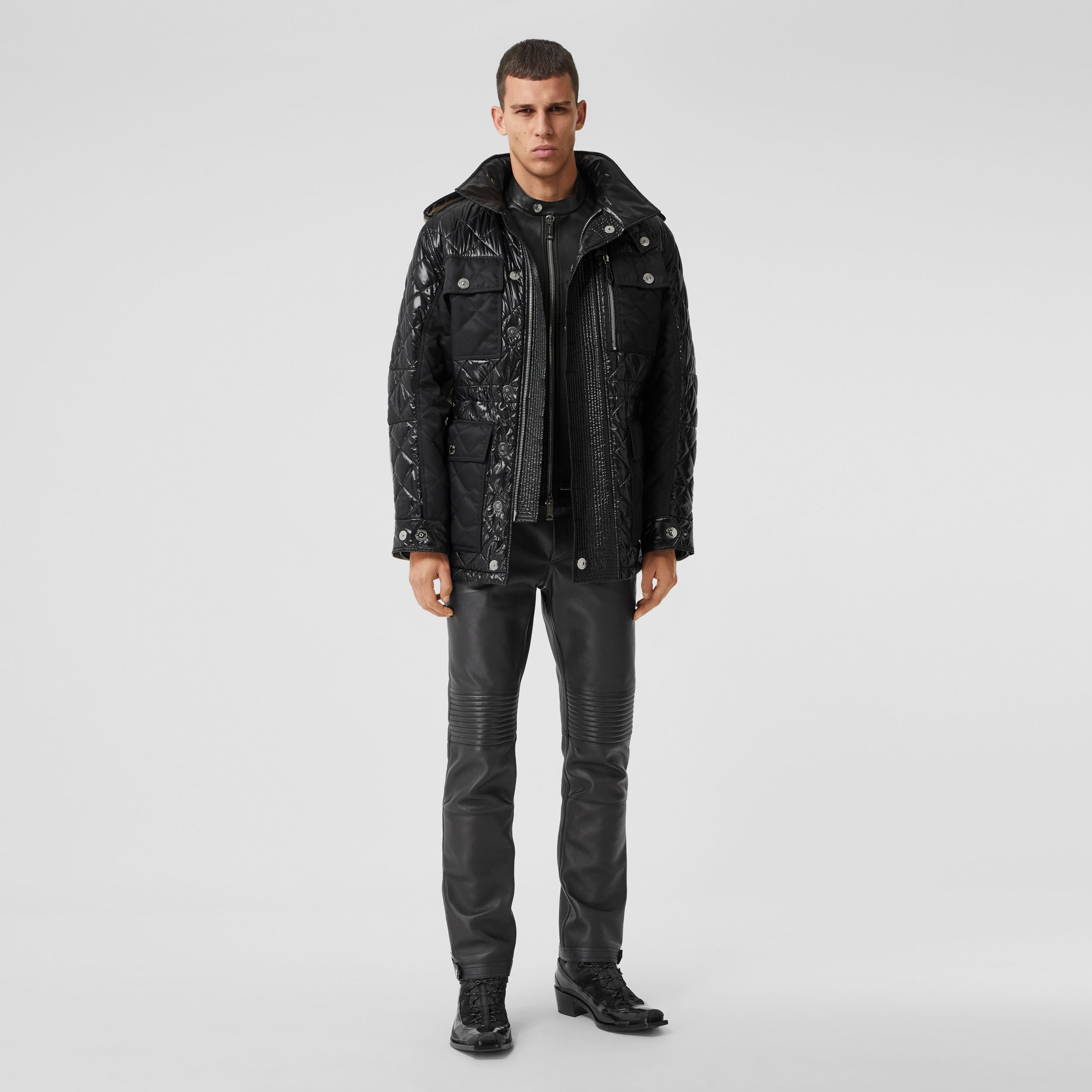 Packaway Hood Quilted Nylon and Cotton Field Jacket in Black | Burberry - 1