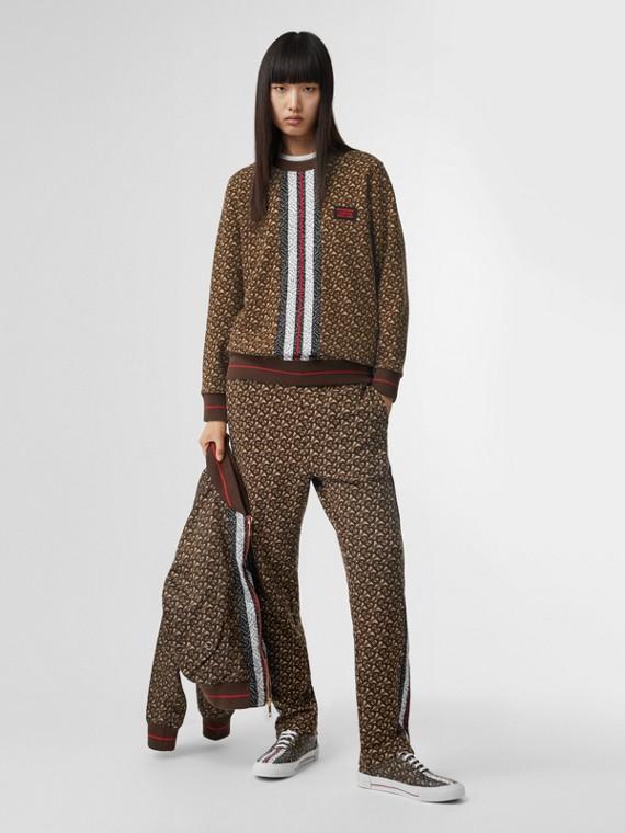 Oversize-Sweatshirt mit Monogrammmuster im Streifendesign (Lederbraun)
