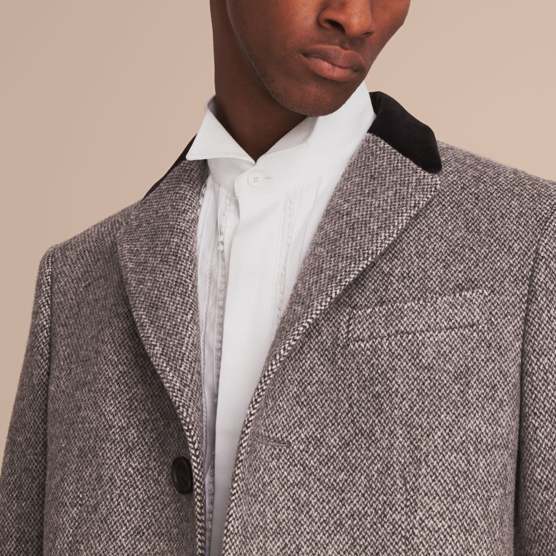 Velvet Collar Wool Tweed Topcoat in Black - Men | Burberry - gallery image 5