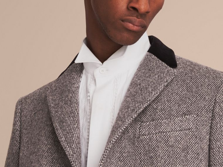 Velvet Collar Wool Tweed Topcoat in Black - Men | Burberry - cell image 4