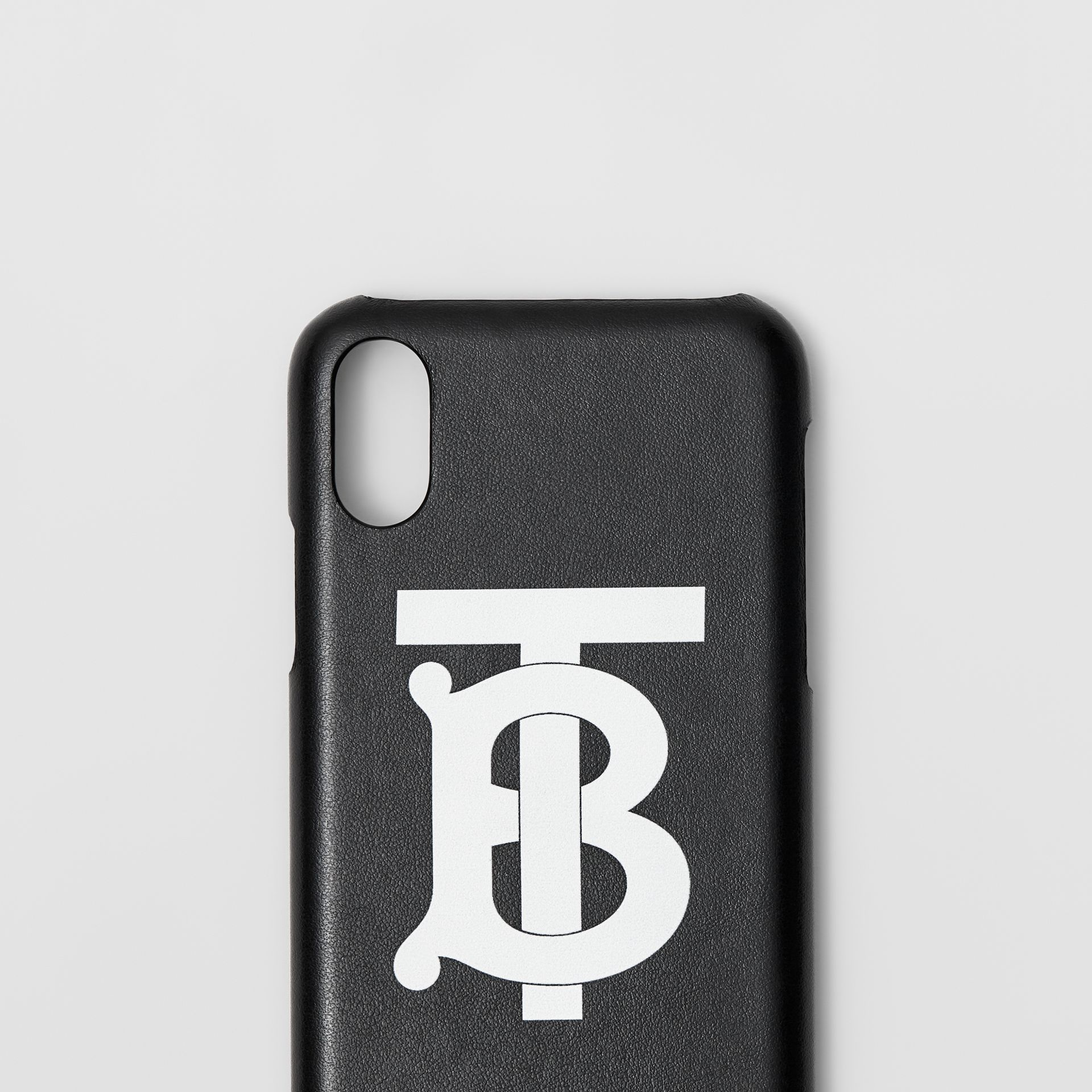 Monogram Motif Leather iPhone X/XS Case in Black - Men | Burberry Singapore - gallery image 1