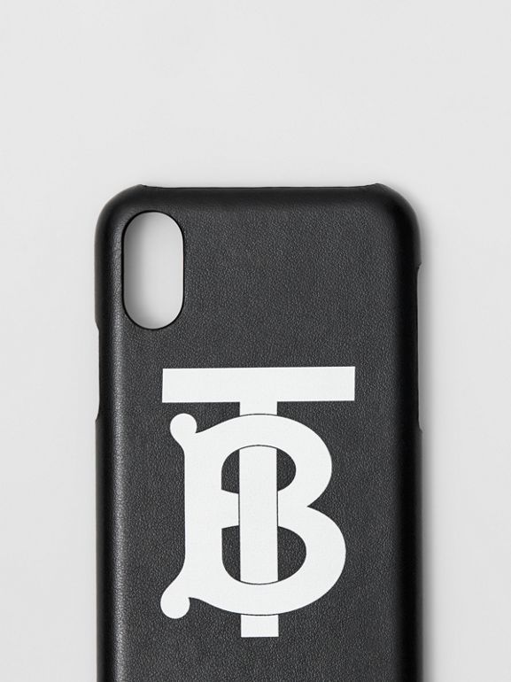 Monogram Motif Leather iPhone X/XS Case in Black - Men | Burberry - cell image 1