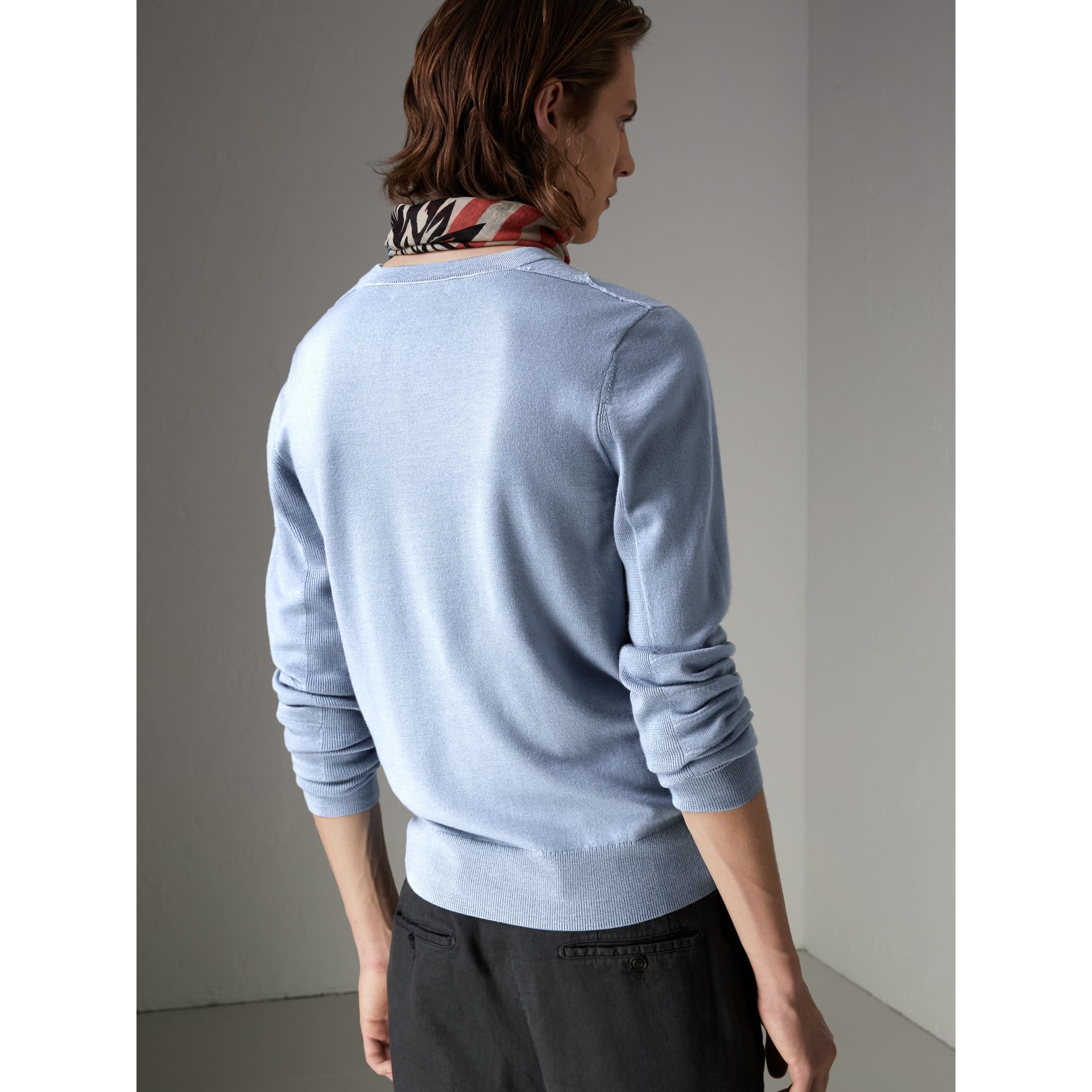 Check Detail Merino Wool Sweater in Stone Blue - Men | Burberry - gallery image 2