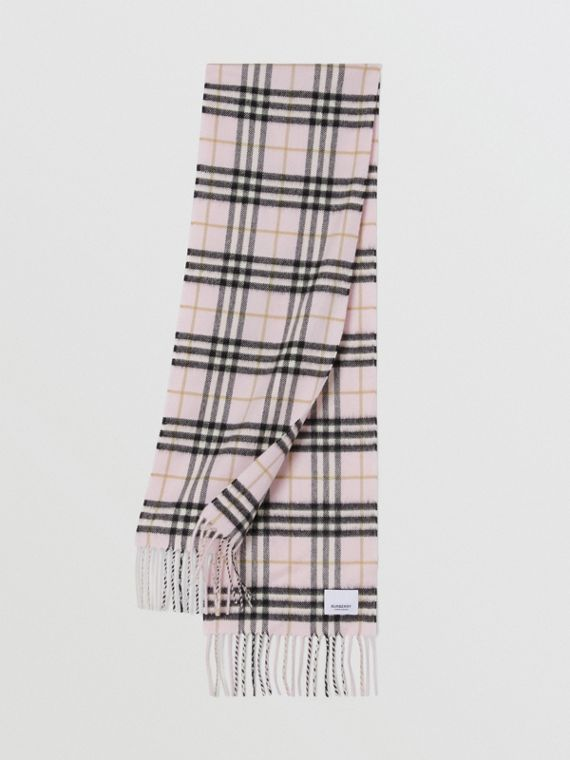 The Mini Classic Vintage Check Cashmere Scarf in Alabaster