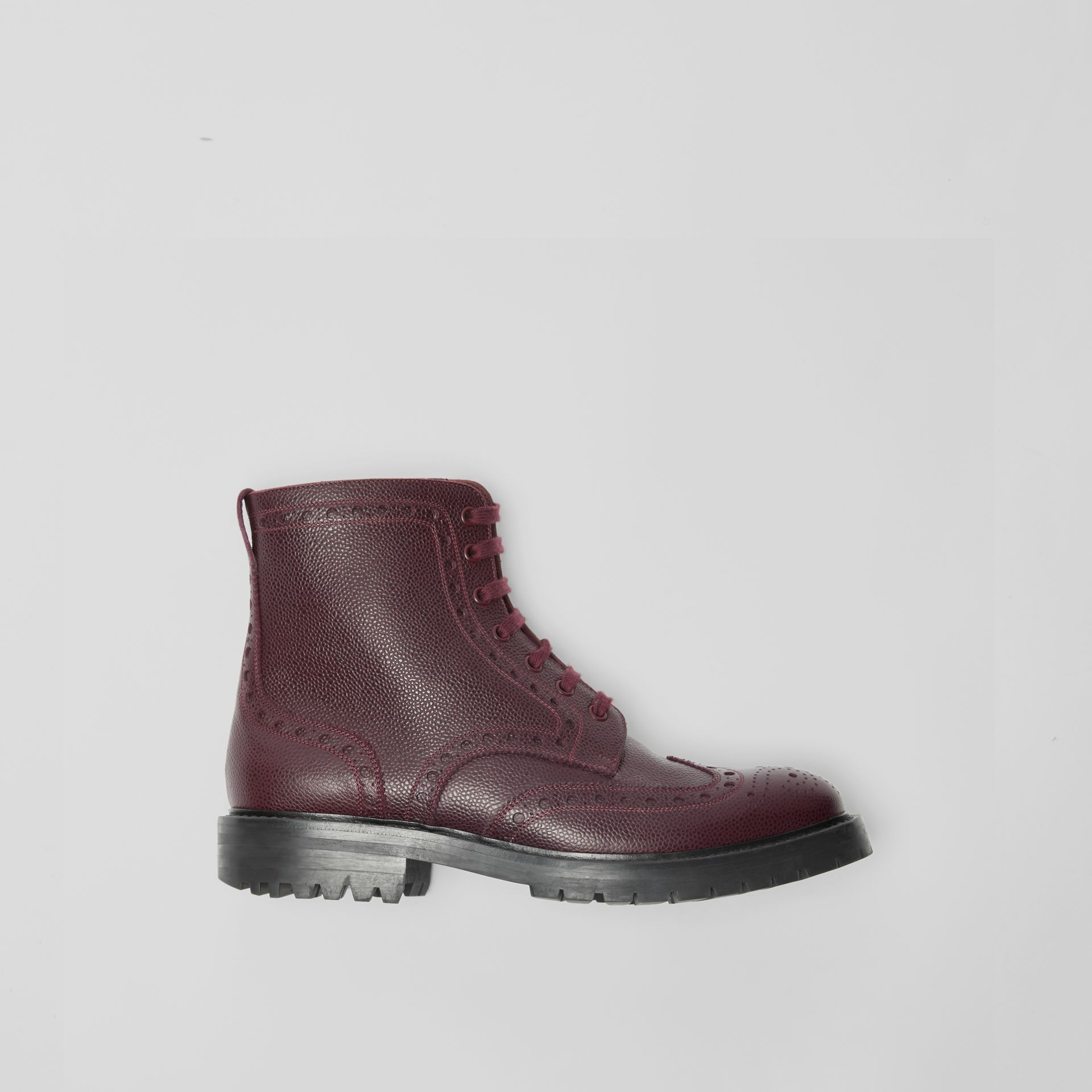 Brogue Detail Grainy Leather Boots in Bordeaux - Men | Burberry United Kingdom - gallery image 0
