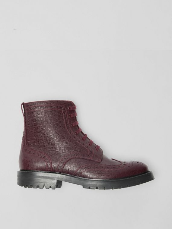 Brogue Detail Grainy Leather Boots in Bordeaux
