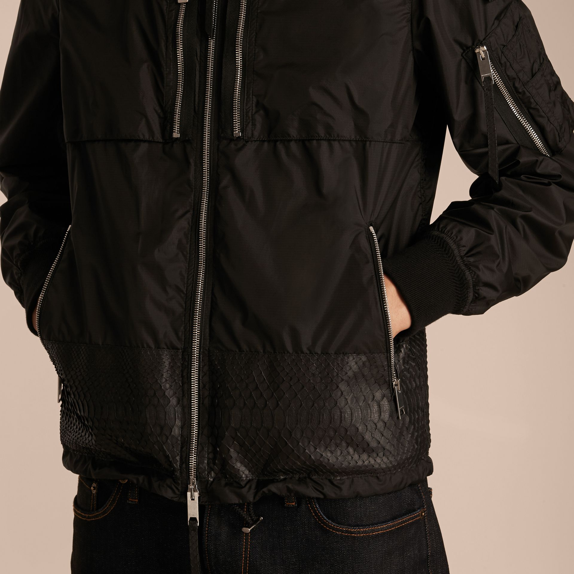 Lightweight Technical Bomber Jacket with Snakeskin in Black - Men | Burberry Canada - gallery image 5