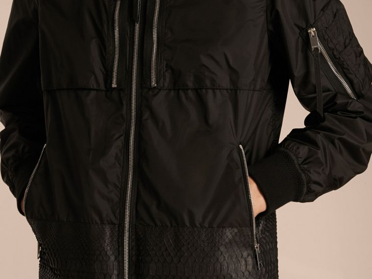 Lightweight Technical Bomber Jacket with Snakeskin in Black - Men | Burberry - cell image 4