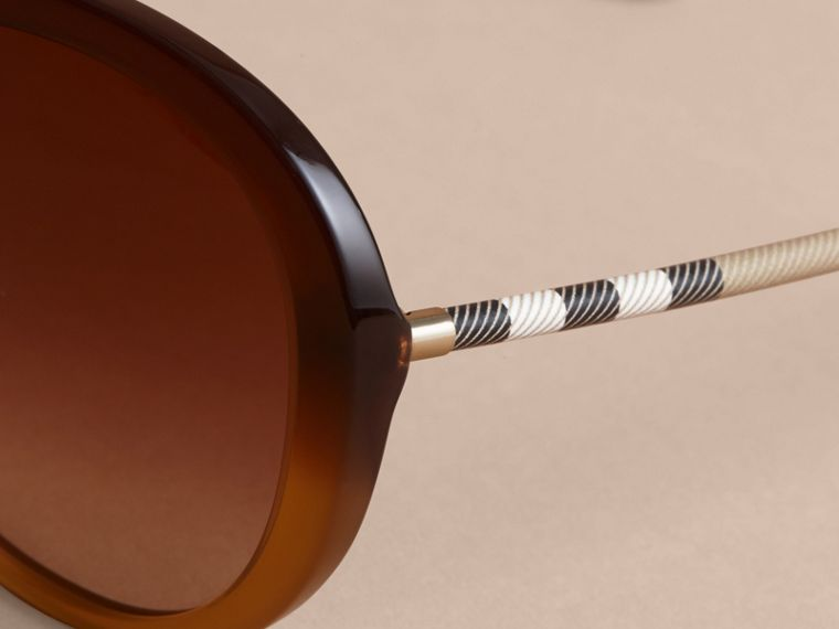 Check Detail Round Frame Sunglasses in Amber - Women | Burberry Hong Kong - cell image 1