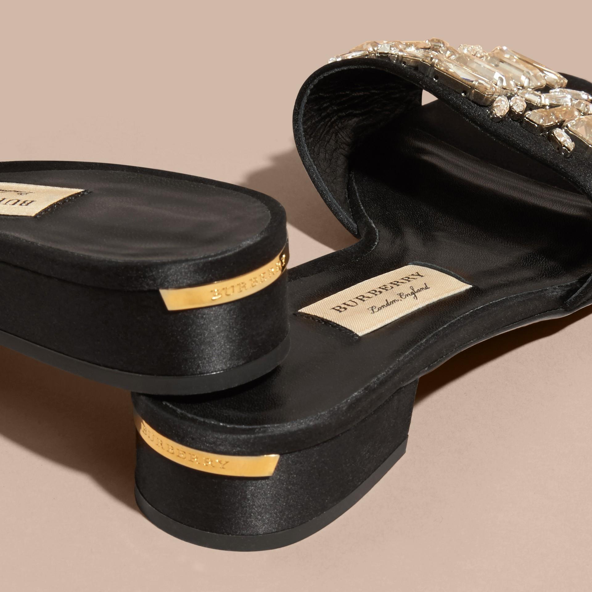 Black Technical Gem-embellished Slip-on Sandals - gallery image 4