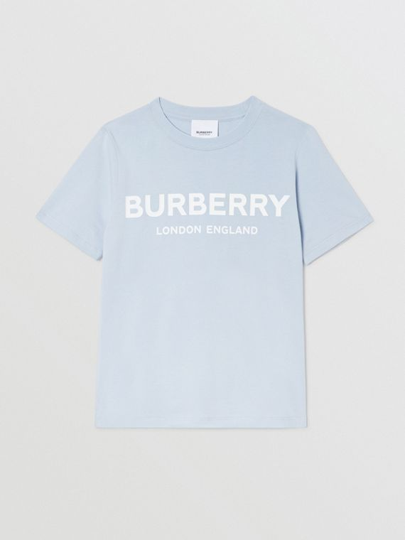Logo Print Cotton T-shirt in Light Blue