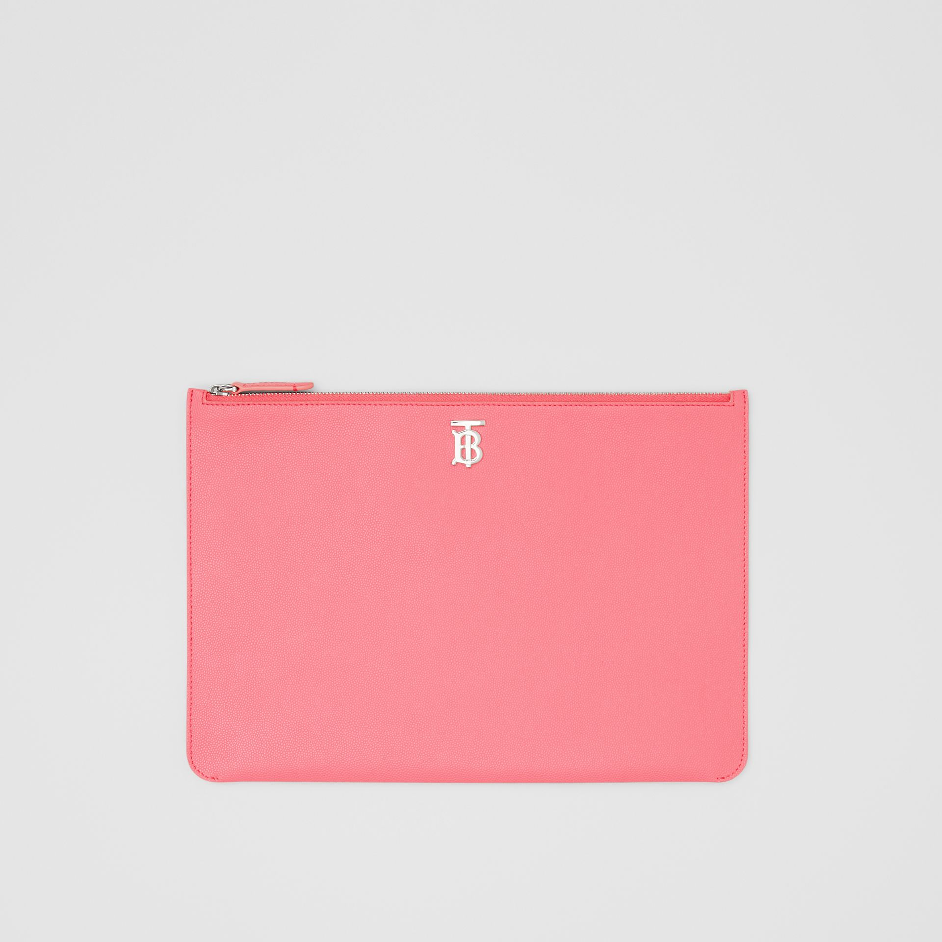 Monogram Motif Grainy Leather Pouch in Candy Floss | Burberry - gallery image 0