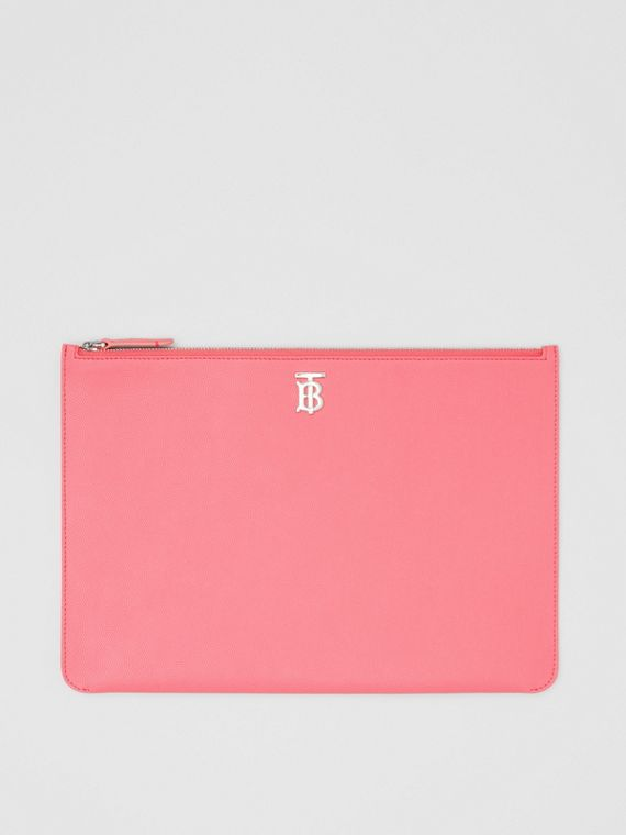 Monogram Motif Grainy Leather Pouch in Candy Floss
