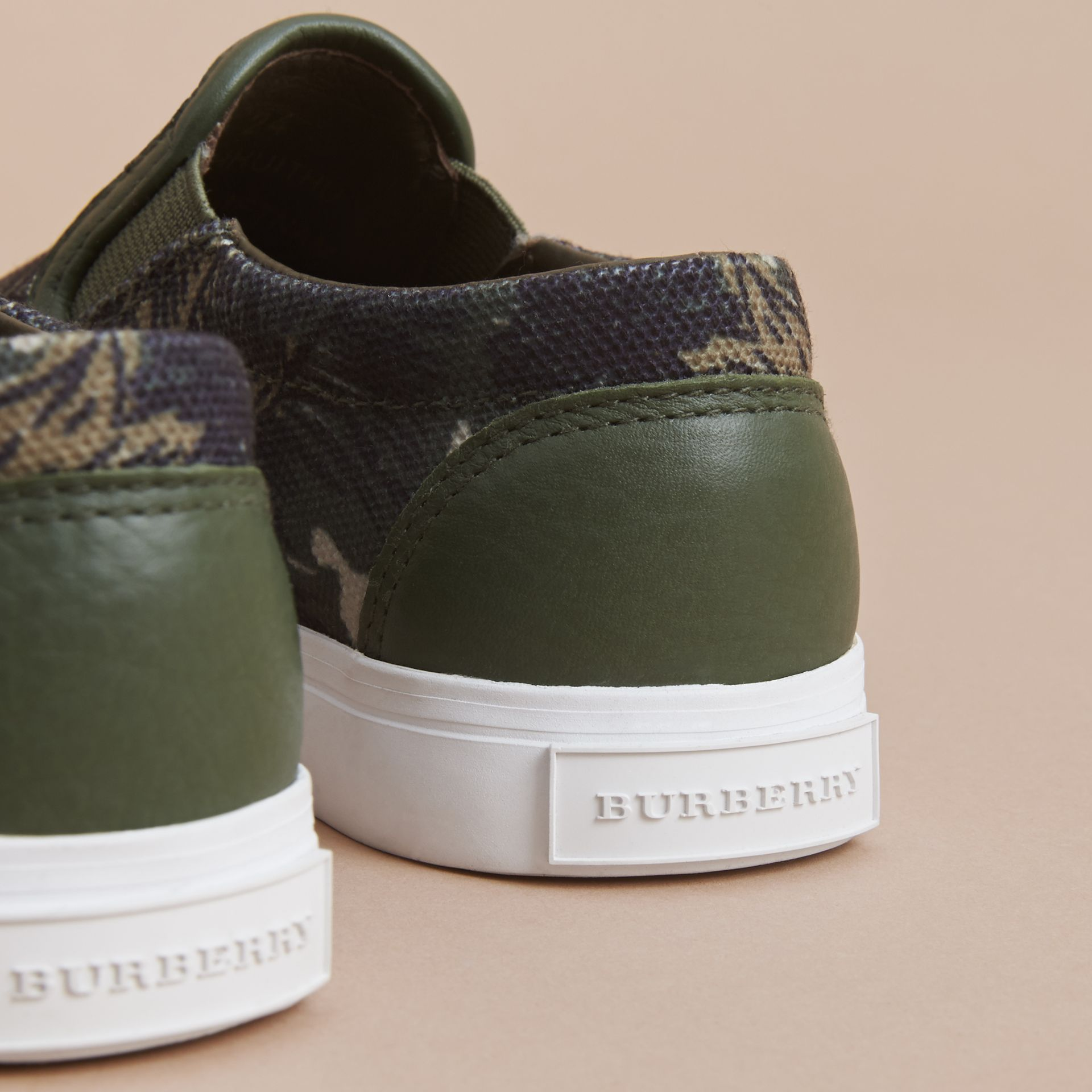 Beasts Print Cotton and Leather Slip-on Trainers in Clay Green | Burberry - gallery image 4