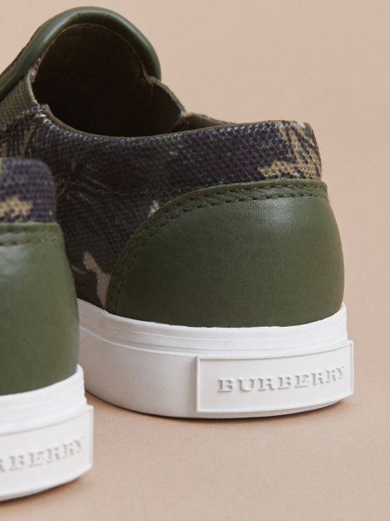 Beasts Print Cotton and Leather Slip-on Trainers in Clay Green | Burberry Hong Kong - cell image 3