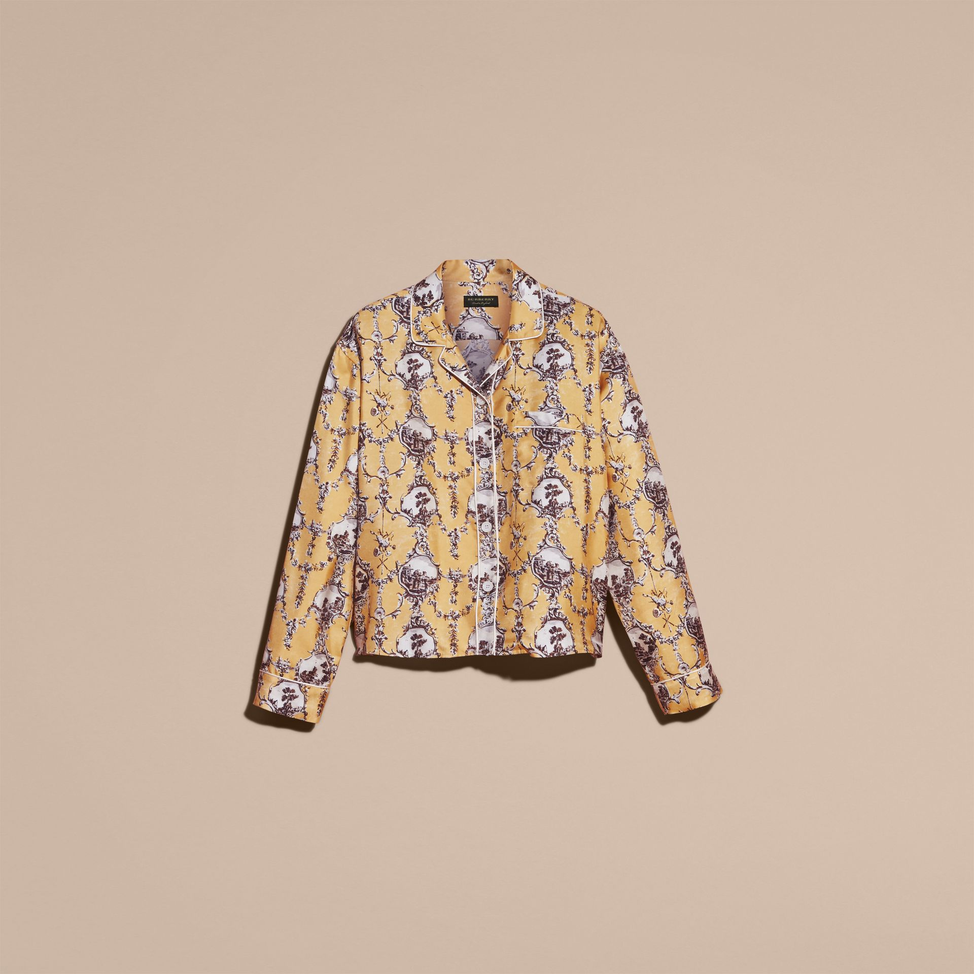 Yellow barley Wallpaper Print Silk Twill Pyjama-style Shirt - gallery image 4