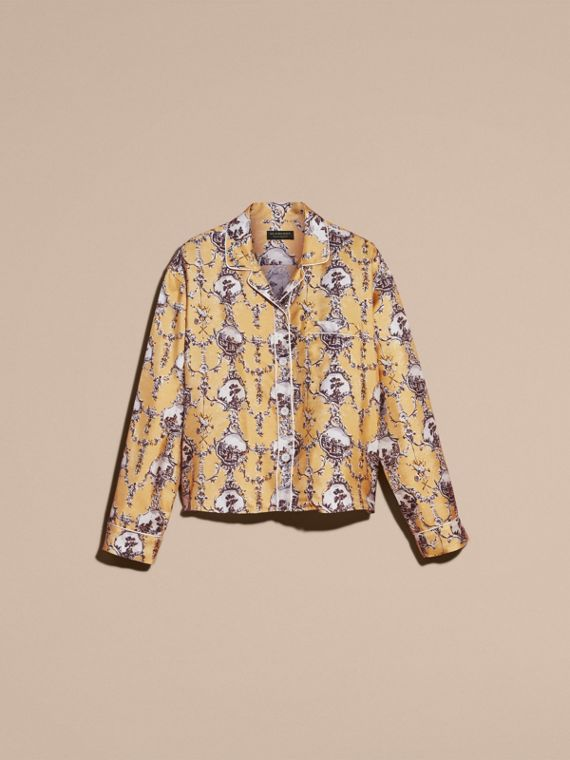 Yellow barley Wallpaper Print Silk Twill Pyjama-style Shirt - cell image 3