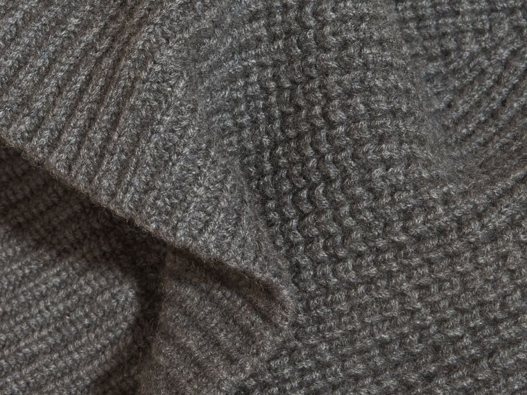 Cashmere Blend Waffle Knit Beanie in Mid Grey | Burberry - cell image 1