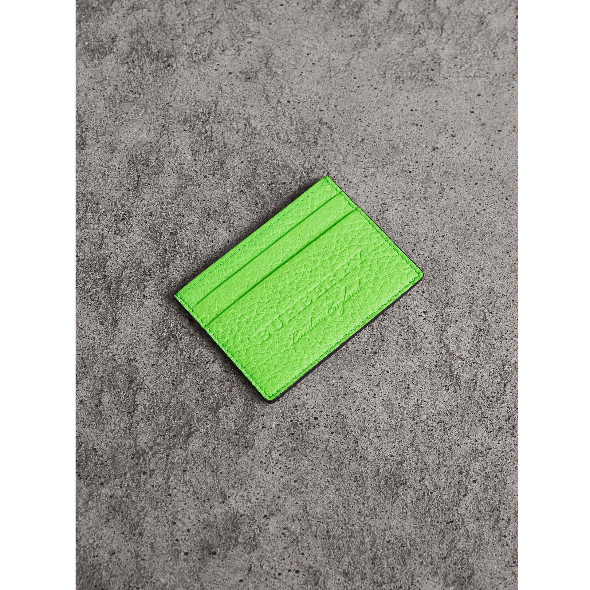 Embossed Textured Leather Card Case in Neon Green | Burberry - gallery image 0