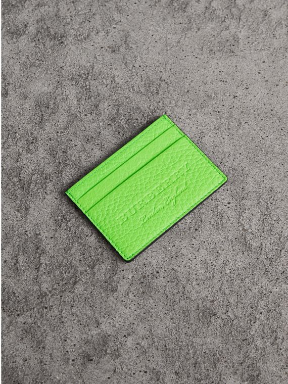 Embossed Textured Leather Card Case in Neon Green
