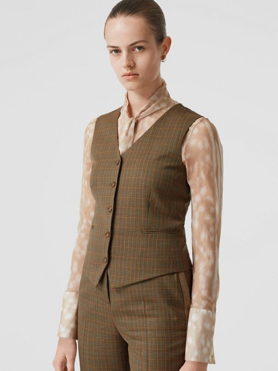 Houndstooth Check Wool Tailored Waistcoat in Fawn
