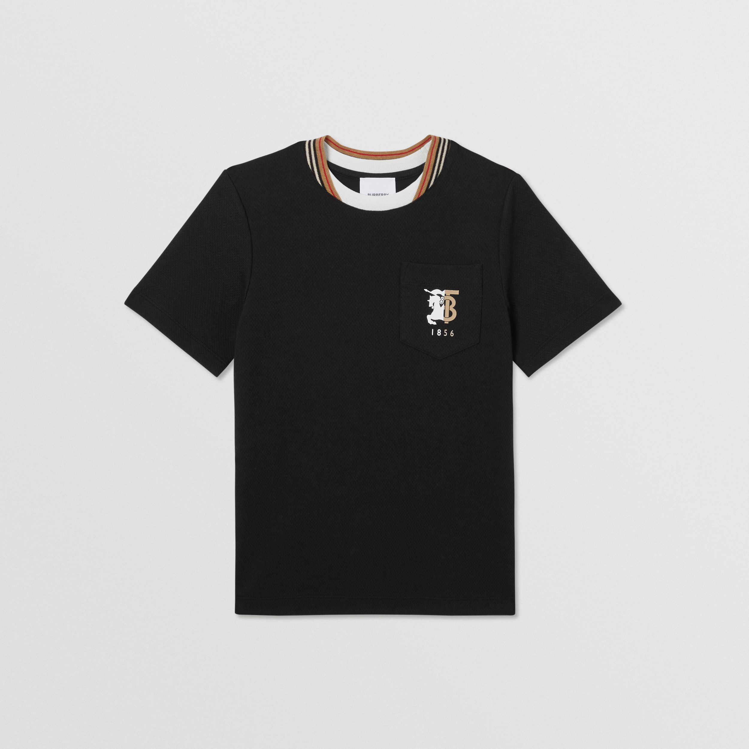 Contrast Logo Graphic Jersey Mesh T-shirt in Black | Burberry - 1