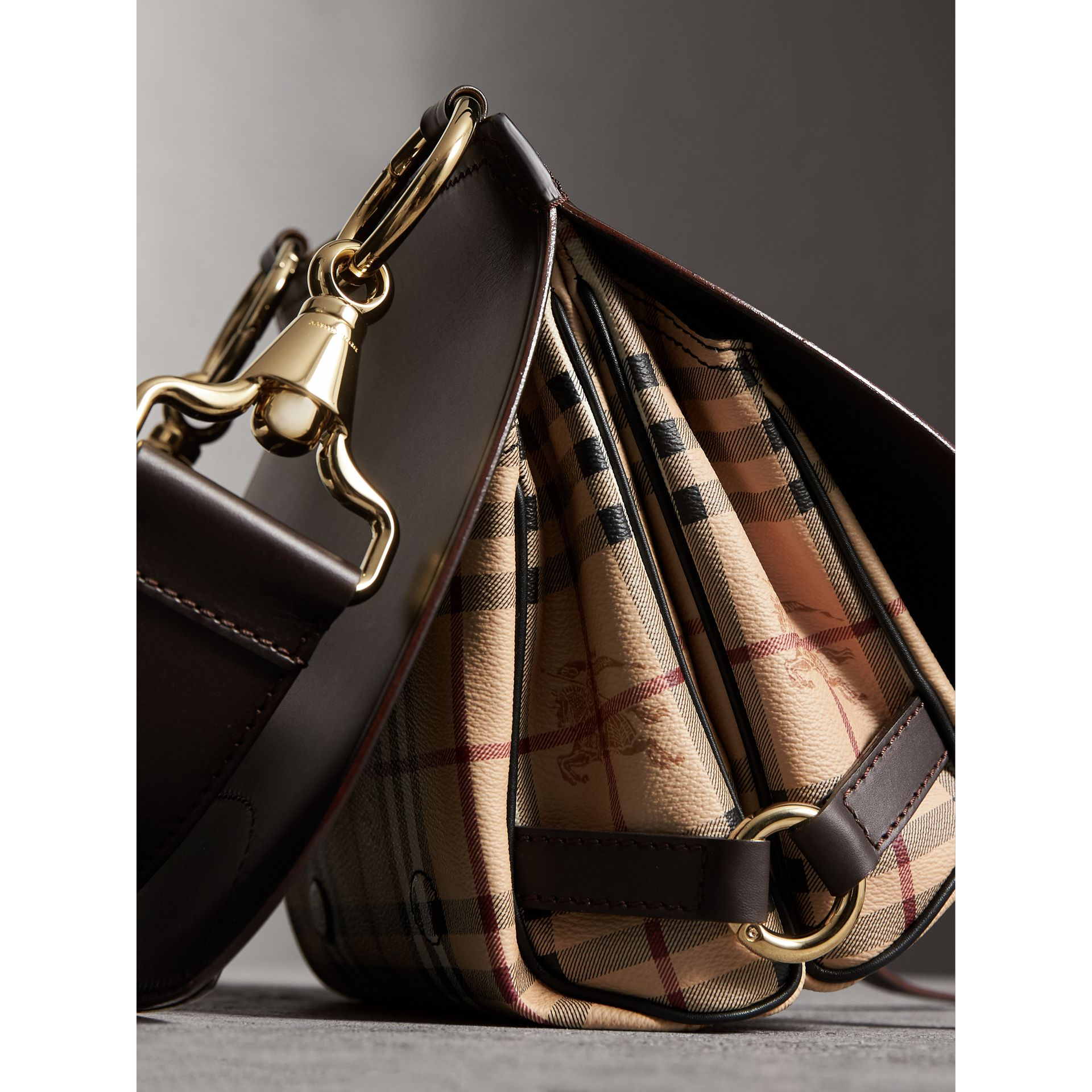 The Bridle Bag in Leather and Haymarket Check in Dark Clove Brown - Women | Burberry - gallery image 7