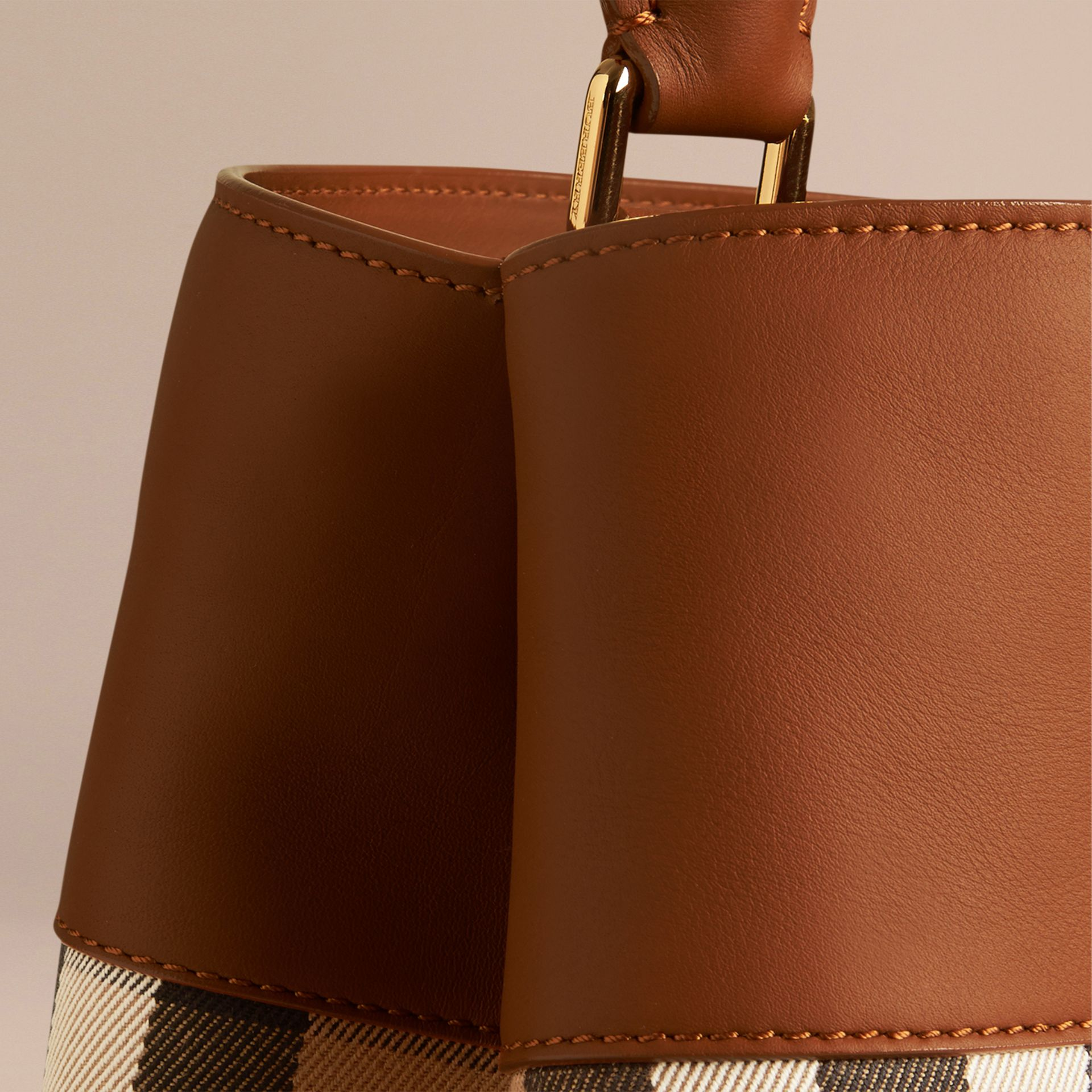 Light toffee The Bucket Bag in House Check and Leather Light Toffee - gallery image 5