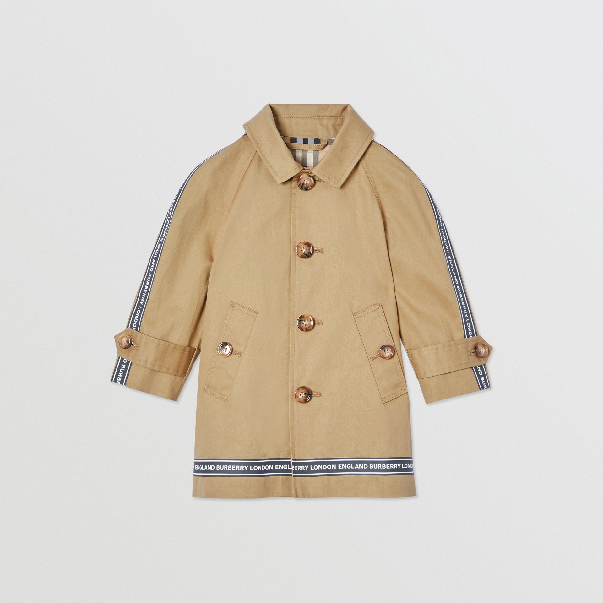 Logo Tape Cotton Car Coat in Honey - Children | Burberry - gallery image 0