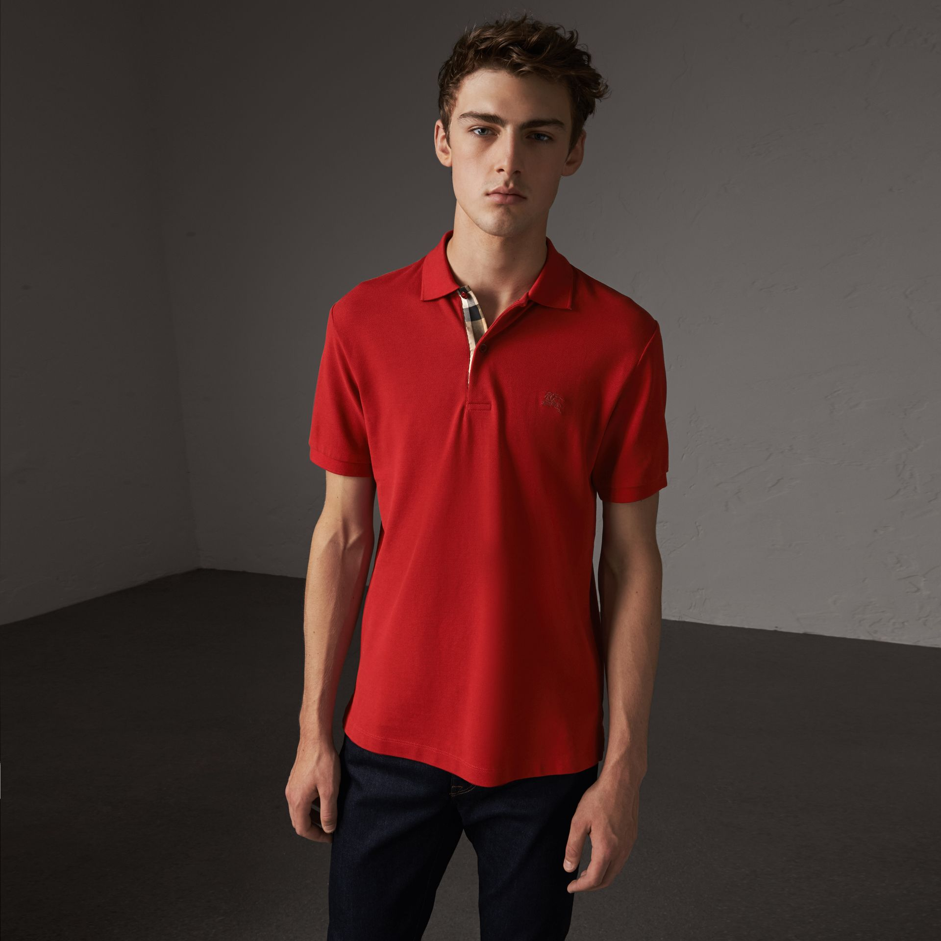 Check Placket Cotton Piqué Polo Shirt in Military Red - Men | Burberry - gallery image 0