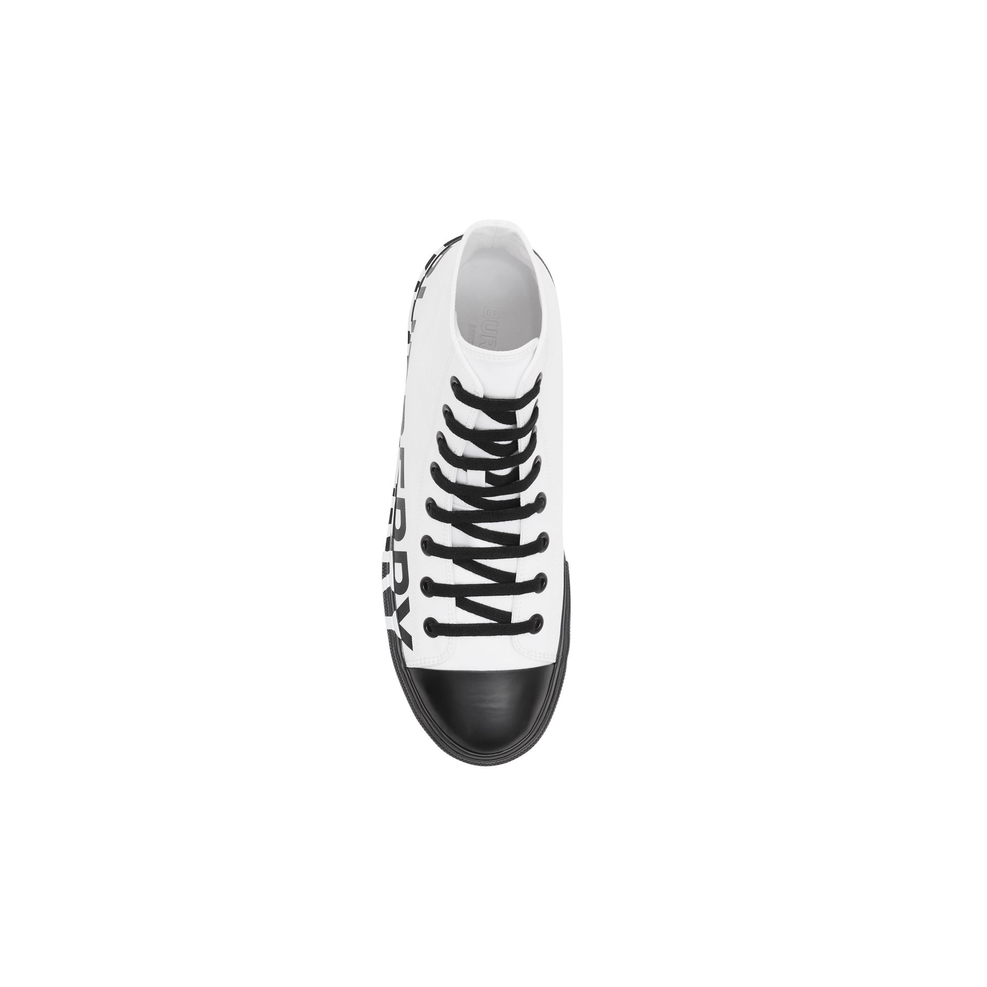 Logo Print Cotton Gabardine High-top Sneakers in Optic White/black - Men | Burberry - gallery image 7