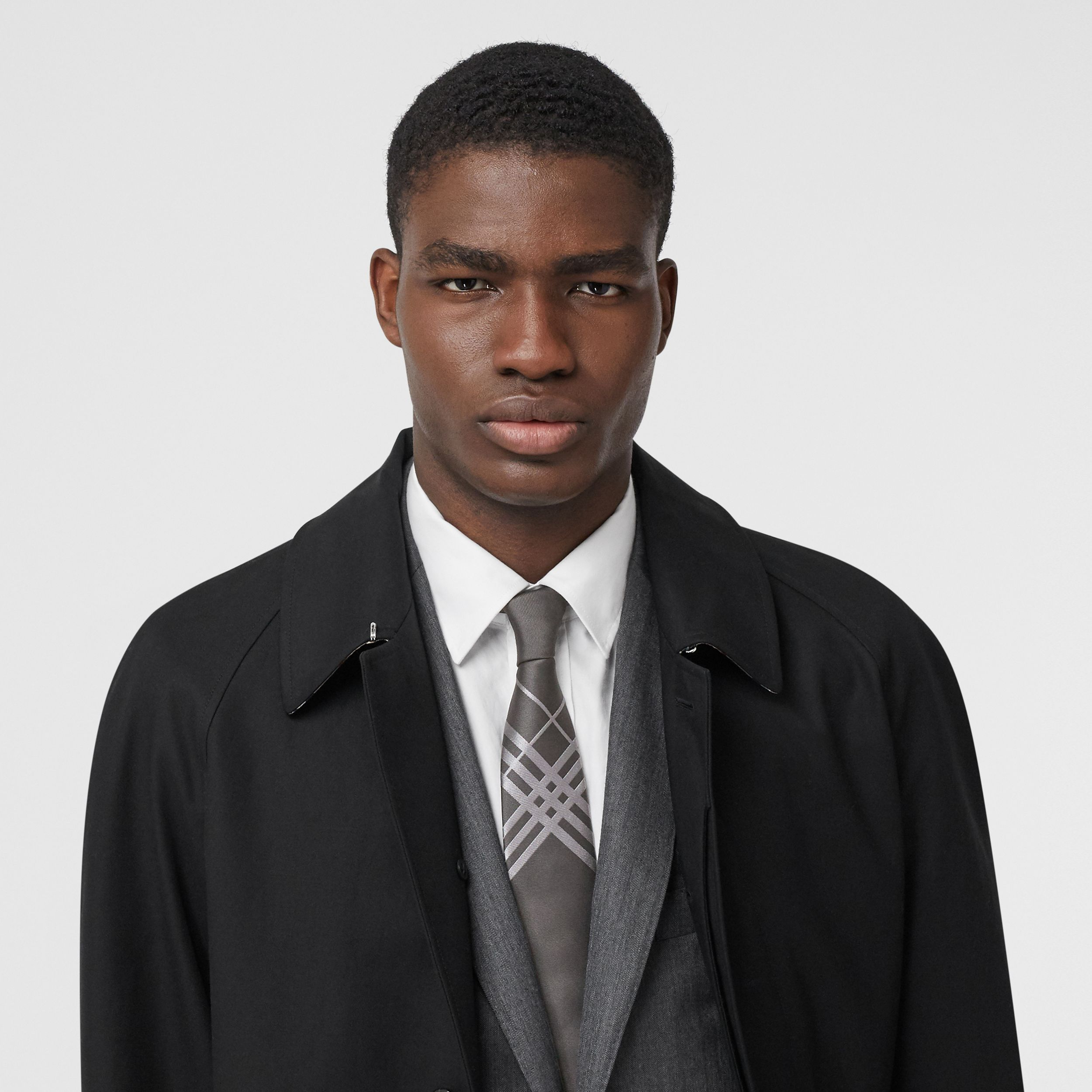 Classic Cut Check Silk Jacquard Tie in Dark Grey - Men | Burberry Australia - 3