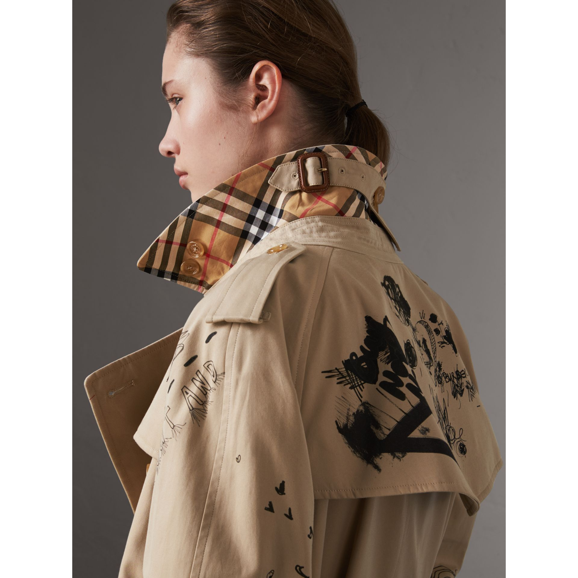 Sketch Print Cotton Gabardine Trench Coat in Honey - Women | Burberry Singapore - gallery image 4