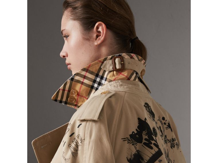Sketch Print Cotton Gabardine Trench Coat in Honey - Women | Burberry Singapore - cell image 4