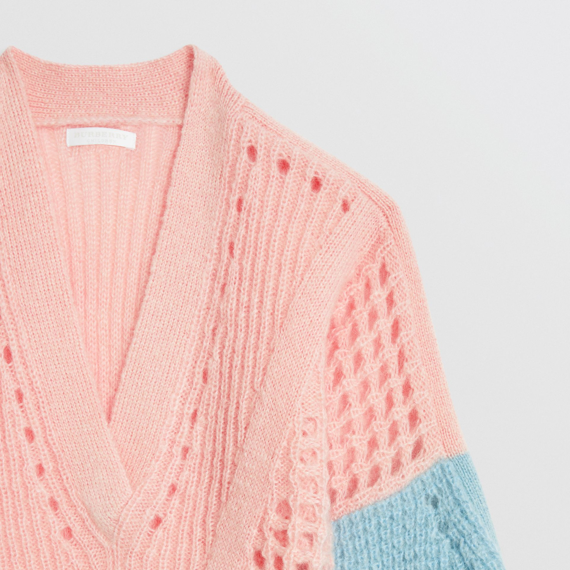 Contrast Knit Mohair Wool Blend Sweater in Pale Pink | Burberry - gallery image 4