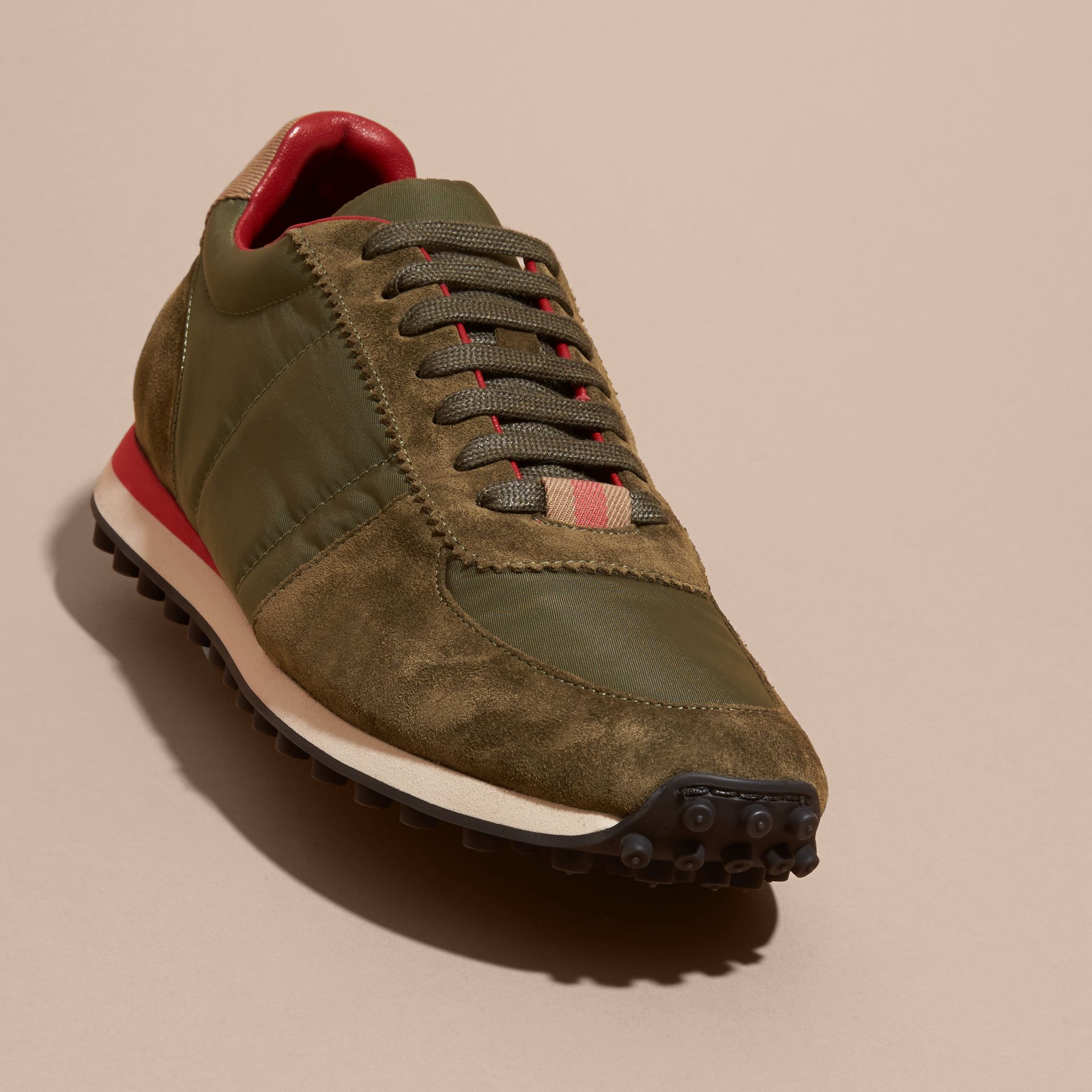 House Check Trim Suede and Technical Satin Sneakers in Olive Green - Men | Burberry - gallery image 3