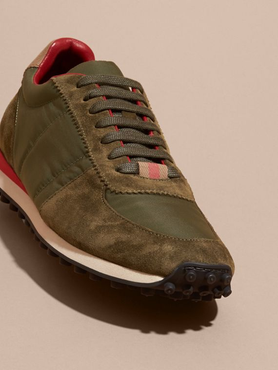 House Check Trim Suede and Technical Satin Sneakers in Olive Green - Men | Burberry - cell image 2