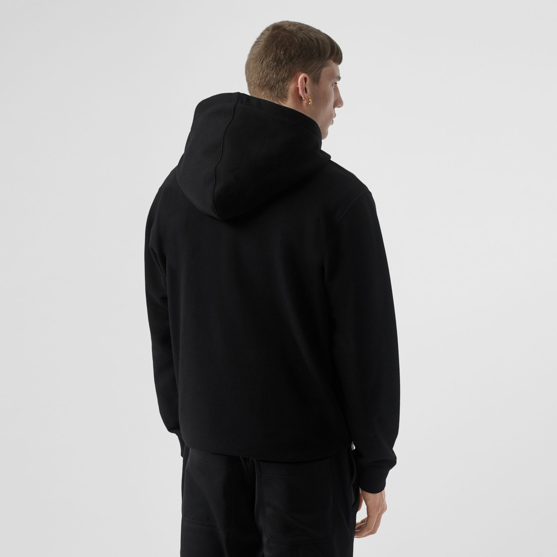 Logo Graphic Cotton Hoodie in Black - Men | Burberry Hong Kong S.A.R - gallery image 2